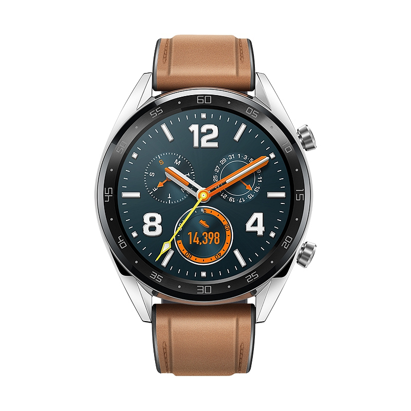 Huawei Watch GT stainless steel with saddle brown..